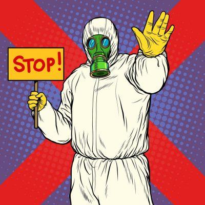 Stop doctor quarantine. Novel Wuhan coronavirus 2019-nCoV epidemic outbreak. Pop art retro vector illustration 50s 60s style